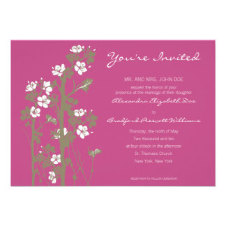 Custom Japanese Floral Wedding Invitation pink