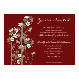 Custom Japanese Floral Wedding Invitation :: red