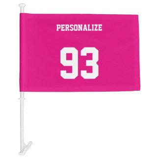 Custom jersey number car flag | neon pink