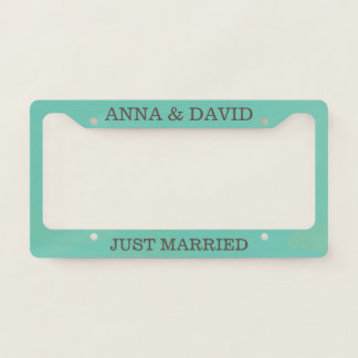 Custom Just Married on Teal Background. Licence Plate Frame