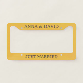 Custom Just Married on Yellow Background. Licence Plate Frame