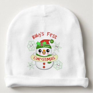 Custom Kawaii Baby's First Christmas Baby Beanie