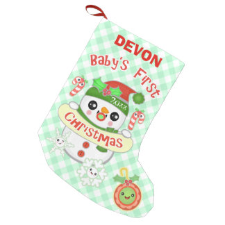 Custom Kawaii Baby's First Christmas Stocking