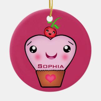 Custom Kawaii Cherry Cupcake Love Ornament