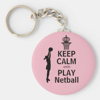Custom Keep Calm and Play Netball Basic Round Button Key Ring