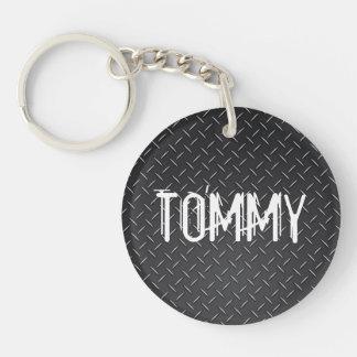 Custom Keychain - Name Stamped Steel Black