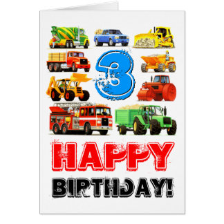 Custom Kids 3rd Birthday Construction Truck Card