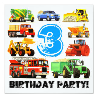 Custom Kid's 3rd Birthday Construction Truck Party 13 Cm X 13 Cm Square Invitation Card