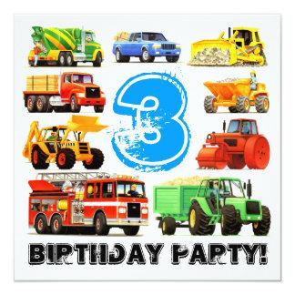 Custom Kid's 3rd Birthday Construction Truck Party 13 Cm X 13 Cm Square Invitation Card