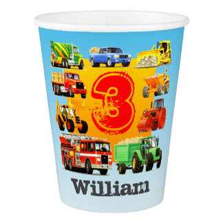 Custom Kid's 3rd Birthday Construction Truck Party Paper Cup