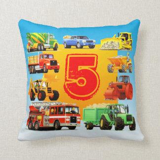 Custom Kids 5th Birthday Construction Trucks Cushion