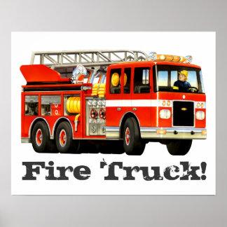 Custom Kid's Big Red Fire Truck Poster