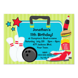 Custom Kids Bowling Party Card