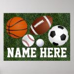 Custom Kids Boys Name Multi Sports Wall Art Poster