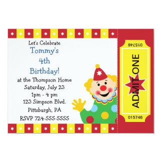 Custom Kids Clown Birthday Party Card