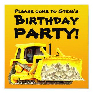 Custom Kids Construction Bulldozer Party 13 Cm X 13 Cm Square Invitation Card