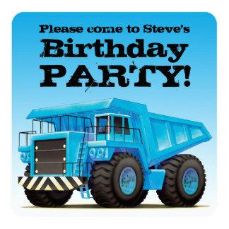 Custom Kids Dump Truck Construction Birthday Party 13 Cm X 13 Cm Square Invitation Card