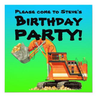 Custom Kids Excavator Construction Party 13 Cm X 13 Cm Square Invitation Card