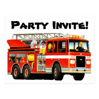 Custom Kids Fire Truck Party Invite Postcard
