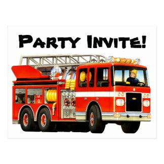 Custom Kids Fire Truck Party Invite Postcard