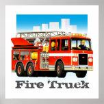 Custom Kid's Giant Red Fire Truck Art Poster