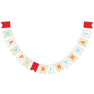 Custom Kids Happy Birthday Faux Gold Stars Stripes Bunting