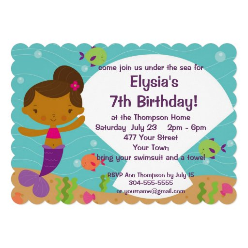 Custom Kids Mermaid Birthday Party Custom Invites
