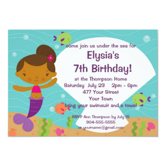Custom Kids Mermaid Birthday Party Invite