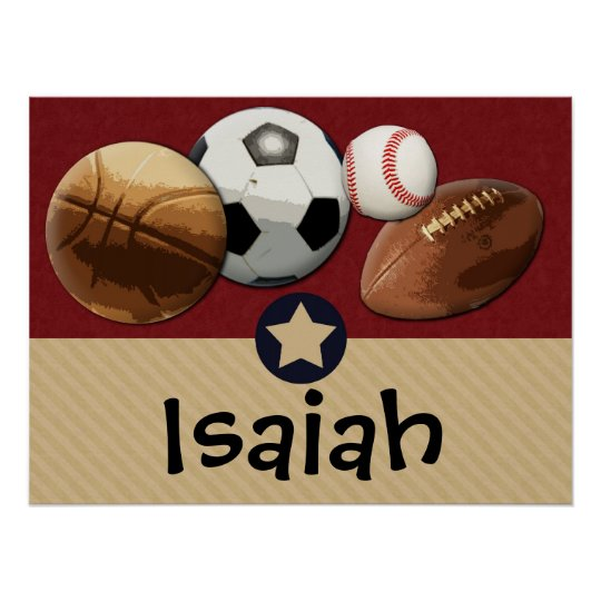 Custom Kids Name Allstar Sports Wall Art Poster
