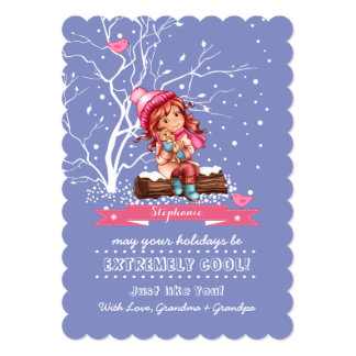 "Custom Kid's Name Fun Christmas Cards for kids 5"" X 7"" Invitation Card"