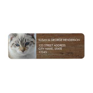 Custom kids pets photo wood family return address return address label