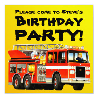 Custom Kid's Red Fire Truck Birthday Party Card