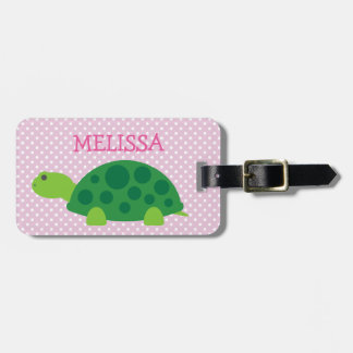 Custom kids travel luggage tag with cute turtle