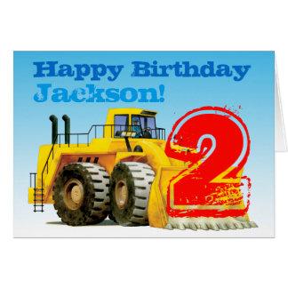 Custom Kids Yellow Digger 2nd Birthday Greeting Card