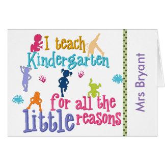 Custom Kindergarten Teacher's Notecards Card