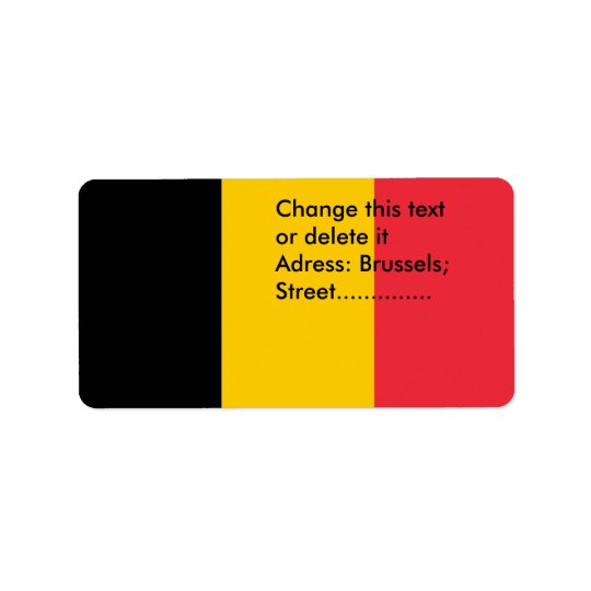 Custom Label with Flag of Belgium Address Label