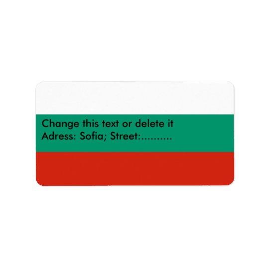 Custom Label with Flag of Bulgaria Address Label
