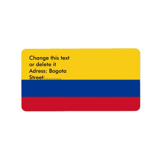 Custom Label with Flag of Colombia Address Label