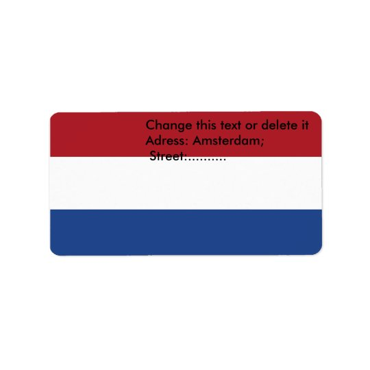 Custom Label with Flag of Netherlands Address Label