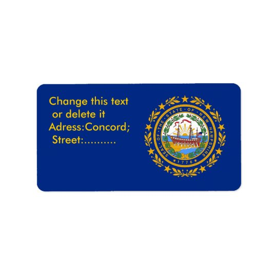 Custom Label with Flag of New Hampshire, U.S.A. Address Label