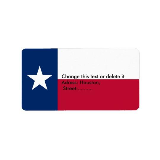 Custom Label with Flag of Texas, U.S.A.