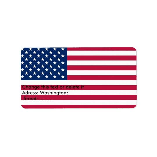 Custom Label with Flag of U.S.A.