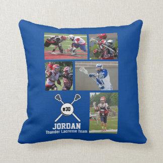 Custom Lacrosse Photo Collage Name Team Number Cushion