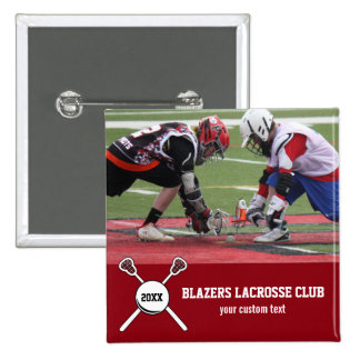 Custom Lacrosse Photo Collage Team Player Name 15 Cm Square Badge