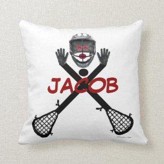 Custom Lacrosse Player Cartoon Cushion