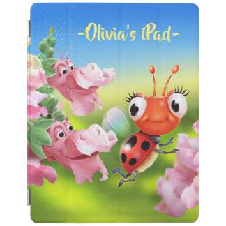 Custom Ladybug & friendly flowers iPad cover