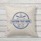 Custom Lake, Beach House & Boat Nautical Anchor Cushion