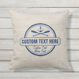 Custom Lake, Beach House & Boat Nautical Anchor Outdoor Cushion