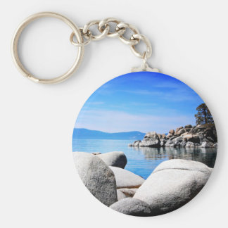 Custom Lake Tahoe Sand Harbor Photograph Basic Round Button Key Ring