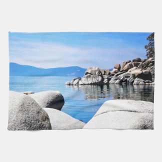 Custom Lake Tahoe Sand Harbor Photograph Tea Towel